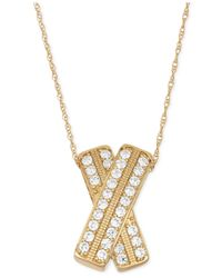 Wrapped in Love - Metallic ™ Diamond Crossover Pendant Necklace In 14k Gold (1 Ct. T.w.) - Lyst