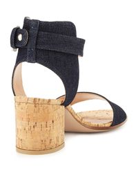 Gianvito Rossi - Black Denim Cork Block-heel Sandal - Lyst