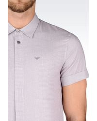 Emporio Armani | Gray Cotton Shirt for Men | Lyst