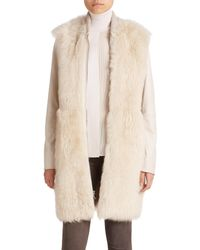Vince | Natural Long Leather & Fur Coat | Lyst