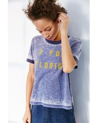 Truly Madly Deeply - Blue Letters Of Cities Ringer Tee - Lyst