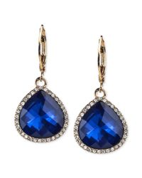 Anne Klein - Goldtone Blue Stone and Crystal Pave Drop Earrings - Lyst