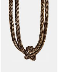 ALDO - Metallic Adriewia Knot Necklace - Lyst