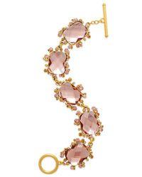 Lauren by Ralph Lauren | Gold-Tone Pink Faceted Stone Cluster Bracelet | Lyst