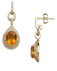 Lord & Taylor - Metallic 14k Yellow Gold Citrine And Diamond Drop Earrings - Lyst