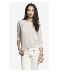 Express - Gray Rhinestud Embellished Open Mesh Sweater - Lyst