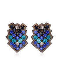 Suzanna Dai | Blue Zocalo Button Earrings, Cobalt/navy | Lyst