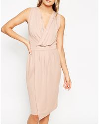 ASOS - Pink Blouson Wrap Sleeveless Jersey Dress - Lyst