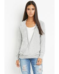 Forever 21 | Gray Contemporary Open-front Longline Cardigan | Lyst