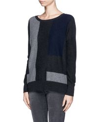 Vince - Black Colourblock Panel Cashmere Sweater - Lyst