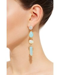Katharine Walker - Metallic 18k Yellow Gold Opal And Moonstone Long Drop Earrings - Lyst