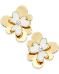 kate spade new york | Metallic Gold-tone White Pansy Blossoms Stud Earrings | Lyst