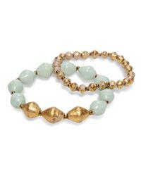 31 Bits - Metallic Gold And Sky Blue Beaded Bracelets - Lyst