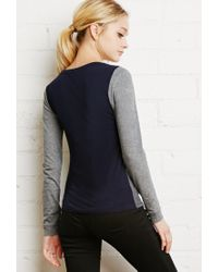 Forever 21 - Blue Heathered Colorblock Top - Lyst