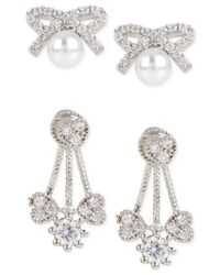 Betsey Johnson | Metallic Silver-tone Crystal And Imitation Pearl Earring Set | Lyst