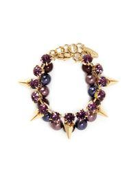 Joomi Lim | Purple Arrowhead Spike Crystal Faux Pearl Bracelet | Lyst
