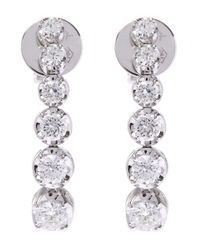Kojis - White Gold Diamond Drop Earrings - Lyst