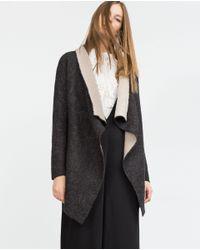 Zara | Gray V-neck Jacket | Lyst