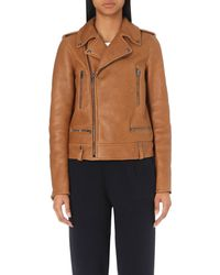 JOSEPH | Brown Rider Shearling Leather Jacket | Lyst