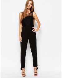 Greylin   Black Lace Jumpsuit   Lyst