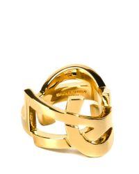 Saint Laurent | Metallic Ysl Gold Ring | Lyst