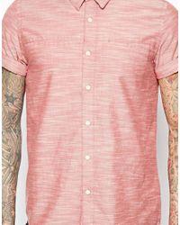 ASOS - Red Slubby Shirt In Short Sleeve for Men - Lyst