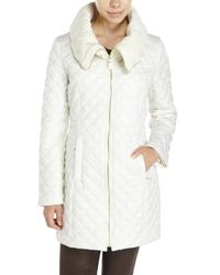 Via Spiga | White Quilted Cable Knit Collar Coat | Lyst