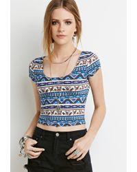 Forever 21 - Blue Floral Print Crop Top You've Been Added To The Waitlist - Lyst