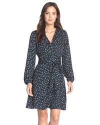 Adrianna Papell | Blue Print Crepe De Chine Wrap Dress | Lyst