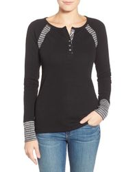 Lucky Brand | Black Striped Thermal Top  | Lyst