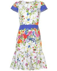 MILLY - White Floral Print Dress - Lyst