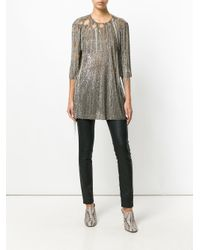 Amen Multicolor Fringed Metallic Flared Top