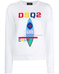 DSquared² - White Surf Camp Print Sweatshirt - Lyst
