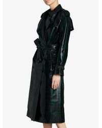 Burberry - Blue Patent Tartan Trench Coat - Lyst