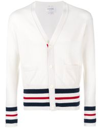 Thom Browne - White Stripe Trim Ribbed Cardigan for Men - Lyst