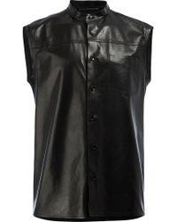 Saint Laurent - Black Sleeveless Leather Shirt for Men - Lyst