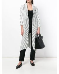 Issey Miyake - Gray Striped Pleated Cardi-coat - Lyst