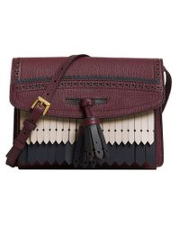 Burberry - Red Brogue And Fringe Detail Crossbody Bag - Lyst