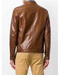 Salvatore Santoro Brown Leather Jacket for men