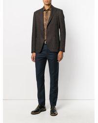 Etro - Brown Houndstooth Pattern Blazer for Men - Lyst