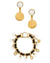 Camila Klein - Metallic Embellished Earrings And Bracelet Set - Lyst