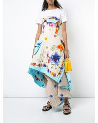 Natasha Zinko - Brown Strapless Quilted Midi Dress - Lyst