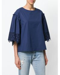 P.A.R.O.S.H. - Blue Embroidered Star Blouse - Lyst