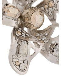 Lanvin - Metallic Crystal-embellished Flower Earring - Lyst