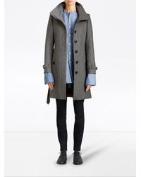 Burberry - Gray Belted Mid-length Coat - Lyst