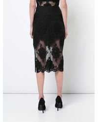 Fleur du Mal - Black Lace Pencil Skirt - Lyst