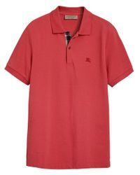 Burberry - Red Check Detail Polo Shirt for Men - Lyst