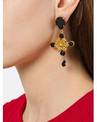 Dolce & Gabbana - Black Stud-drop Earrings - Lyst