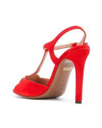 L'Autre Chose - Red Circular Logo Plaque Sandals - Lyst