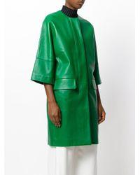Marni - Green Oversized Leather Lambskin Coat - Lyst